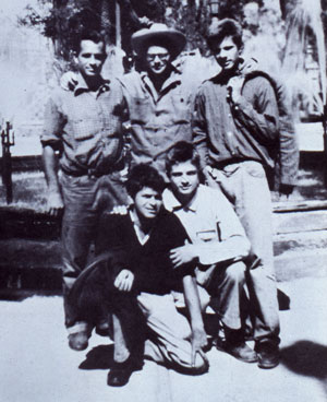 Jack Kerouac, Allen Ginsberg, Peter Orlovsky, Gregory Corso and Lafeadio Corso, Mexico City, 1956